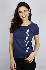 Tričká - Dámske tričko modrý melír kvet II - 9406486_