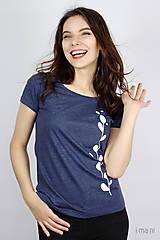 Tričká - Dámske tričko modrý melír kvet II - 9406488_