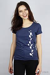 Tričká - Dámske tričko modrý melír kvet II - 9406490_