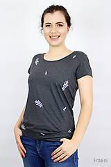 Tričká - Dámske tričko sivý melír kvet III - 9406506_