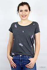 Tričká - Dámske tričko sivý melír kvet III - 9406508_