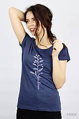 Tričká - Dámske tričko modrý melír kvet IV - 9406539_