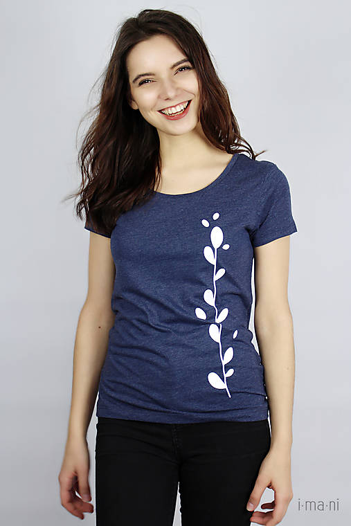 Dámske tričko modrý melír kvet II