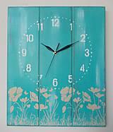 Hodiny - Nástenné hodinky - tyrkys - 9409521_