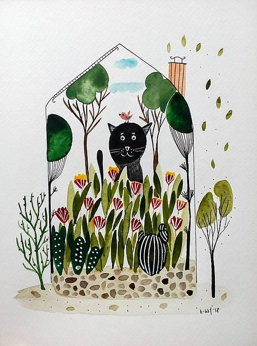 Kocúrkovo  dom ilustrácia  / originál maľba