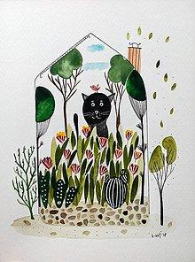 Obrazy - Kocúrkovo  dom ilustrácia  / originál maľba - 9411346_