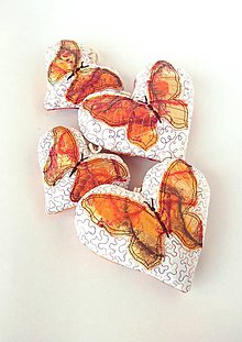 Dekorácie - Tieňový motýľ - závesná dekorácia žltooranžová - 9409585_