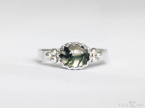 Strieborný prsteň s machovým achátom - La Mossa