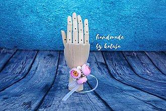Pierka - náramok nebeská svadba (ružové pivonky) - 9409824_
