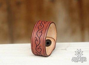 Náramky - Kožený náramok (Bordovo hnedý) - 9411576_