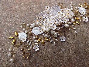 Ozdoby do vlasov - svadobný hrebienok do vlasov - ivory biely, zlatý - 9410565_