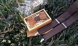 - Pánsky set- drevený motýlik a traky - 9408420_