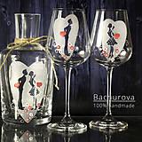 - Svadobné poháre a karafa (Pieskovaná mená a dátum sobáša) - 9411371_