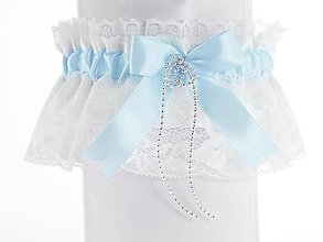 Bielizeň/Plavky - Saténový podväzok modrý s čipkou pre nevestu 04S (Tyrkysová) - 9411658_