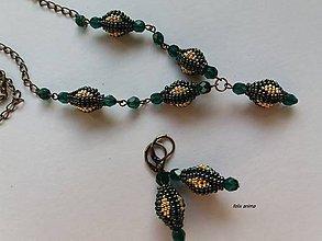 Sady šperkov - Zlatá panna - zelený iris - 9410858_