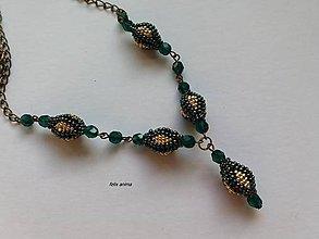 Náhrdelníky - Zlatá panna - zelený iris - náhrdelník - 9410944_