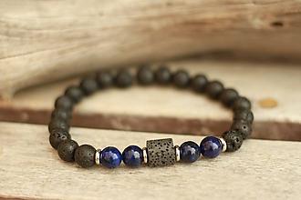 Šperky - Pánsky náramok z minerálu láva, lapis lazuli - 9409291_