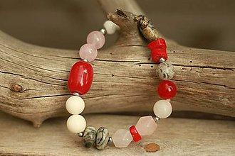 Náramky - Boho náramok z minerálov red - 9410320_