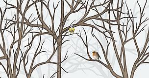 Grafika - Vtáčí les - zima 2 - 9410534_