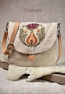 Kabelky - Konopná taška s ručnou výšivkou •Vesna• - 9410028_
