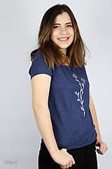 Tričká - Dámske tričko modrý melír kvet I - 9410199_