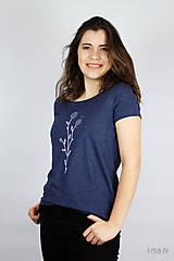Tričká - Dámske tričko modrý melír kvet I - 9410201_