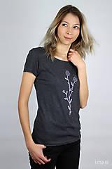Tričká - Dámske tričko sivý melír kvet I - 9410262_