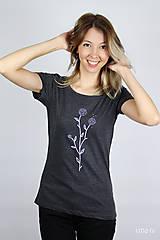 Tričká - Dámske tričko sivý melír kvet I - 9410268_