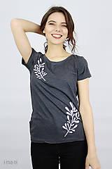 Tričká - Dámske tričko sivý melír kvet V - 9410489_