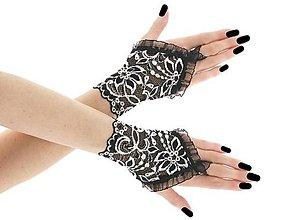 Rukavice - Dámské čipkové čierno bielé rukavice 0670 - 9415308_