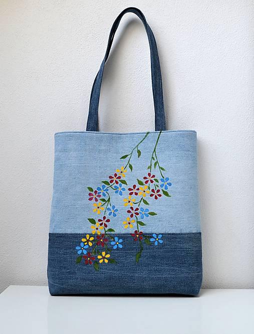 cfafa44081 Riflová kabelka s pestrými kvietkami   HerAn - SAShE.sk - Handmade ...