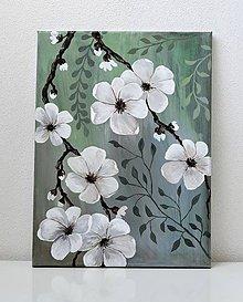 Obrazy - Maľovaný obraz-Kvety a púčiky - 9412197_
