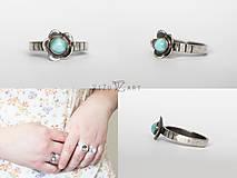 Prstene - Strieborný prsteň s larimarom - Larimarový kvet - 9413285_