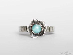 Prstene - Strieborný prsteň s larimarom - Larimarový kvet - 9413279_