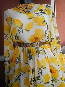 Šaty - Citróny - šifónové šaty AKCIA!!! - 9414507_