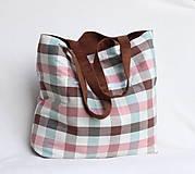- Veľká letná taška - hnedá vs. farebné káro - 9414833_