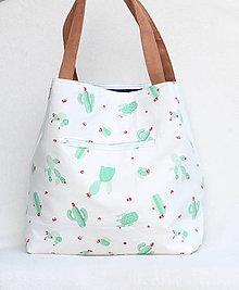 Veľké tašky - Veľká letná taška - kaktus vs. modrobiele pruhy - 9414714_
