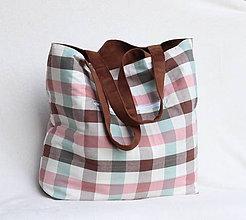 Veľké tašky - Veľká letná taška - hnedá vs. farebné káro - 9414833_