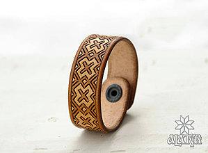 Náramky - Kožený náramok Výšivka - 9413520_