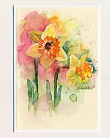 Papiernictvo - Ručne maľovaná pohľadnica - Narcisky - 9414697_