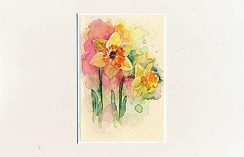 Papiernictvo - Ručne maľovaná pohľadnica - Narcisky - 9414699_