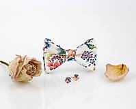 "Šatky - Kvetinový exkluzívny set - motýlik s náušnicami ""Eva Belle"" - 9413261_"