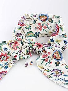 Šatky - Letná kvetinová šatka s náušnicami