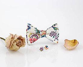 Šatky - Kvetinový exkluzívny set - motýlik s náušnicami