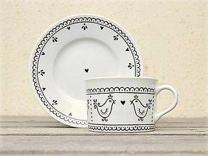 Nádoby - Maľovaná šálka na kávu s podšálkou (200 ml): Vtáčik folk (Tmavohnedá) - 9413299_