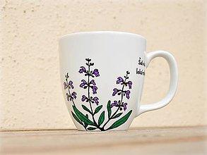 Nádoby - Maľovaný porcelánový hrnček - Bylinky (Šalvia lekárska) - 9413349_