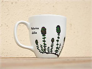 Nádoby - Maľovaný porcelánový hrnček - Bylinky (Materina dúška) - 9413358_