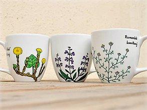 Nádoby - Maľovaný porcelánový hrnček - Bylinky (OBOJSTRANNÝ HRNČEK - 2 bylinky) - 9413392_
