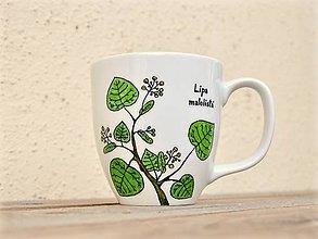 Nádoby - Maľovaný porcelánový hrnček - Bylinky (Lipa malolistá) - 9413393_
