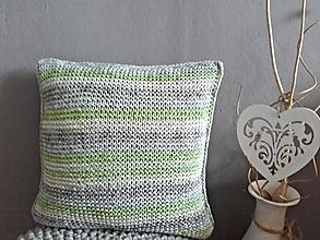 Úžitkový textil - Pletený vankúš zelený melír - 9412532_